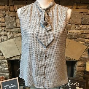 Ann Taylor Petite Sleeveless Blouse with Tie MP